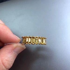 Peridot gemstone eternity ring sz 8